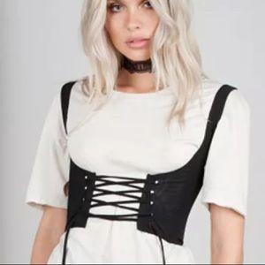 Waist belt vest corset lace up goth steampunk sexy